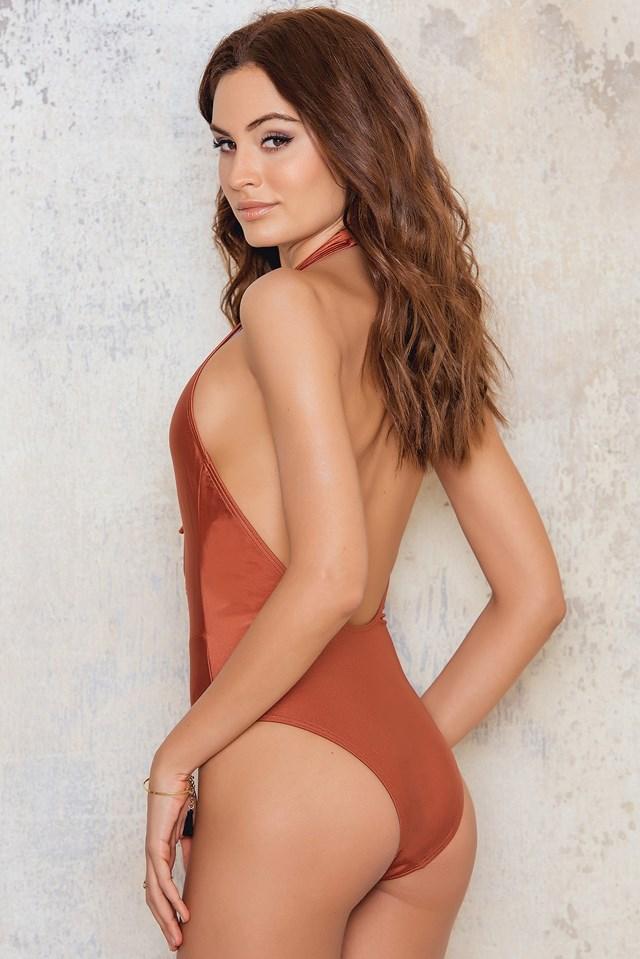 Lacing Swimsuit Terracotta