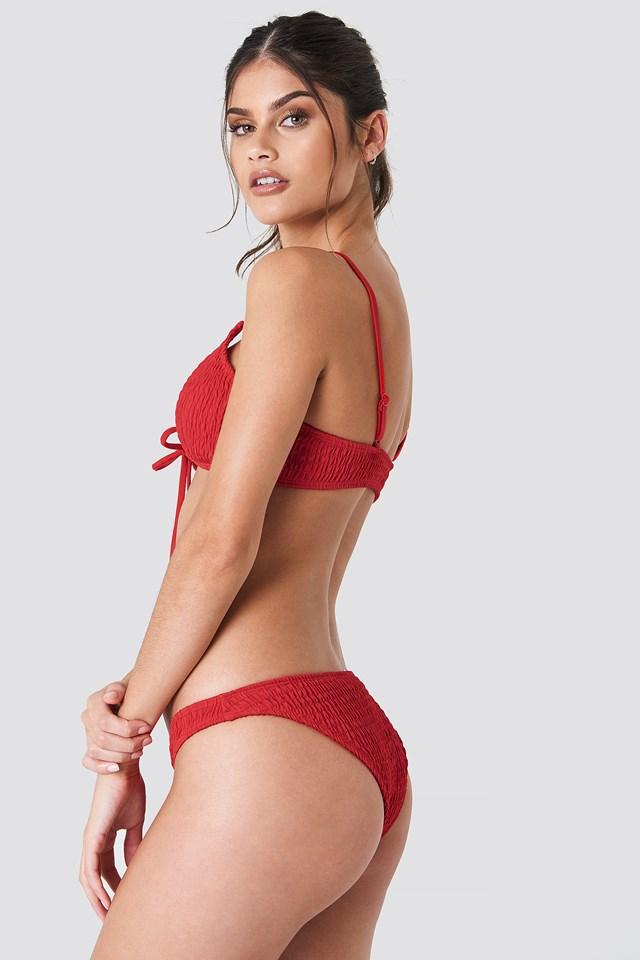 Lacing Shirred Bikini Top Red
