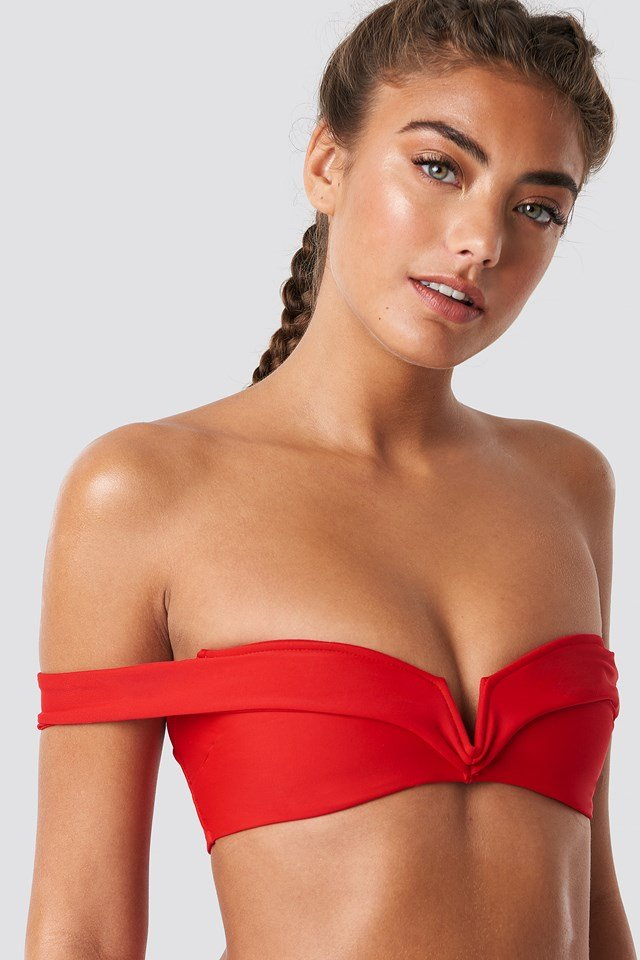 Folded Bandeau Bikini Top Red
