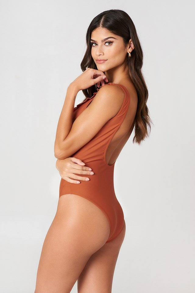 Cup Frill Swimsuit Rust