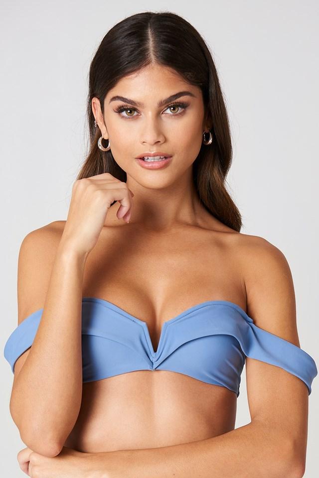 Folded Bandeau Bikini Top Soft Blue
