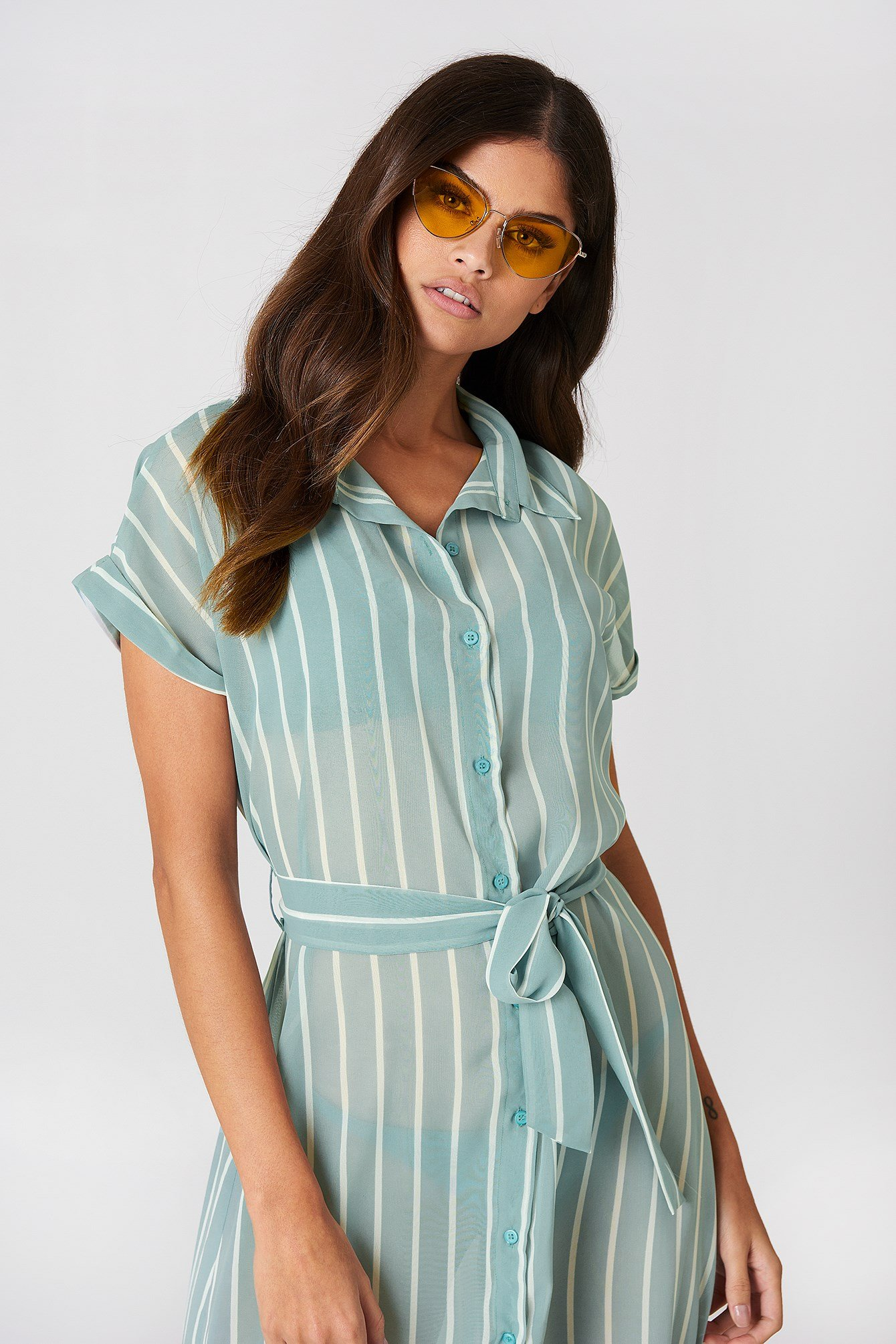 Tied Waist Shirt Dress NA-KD.COM