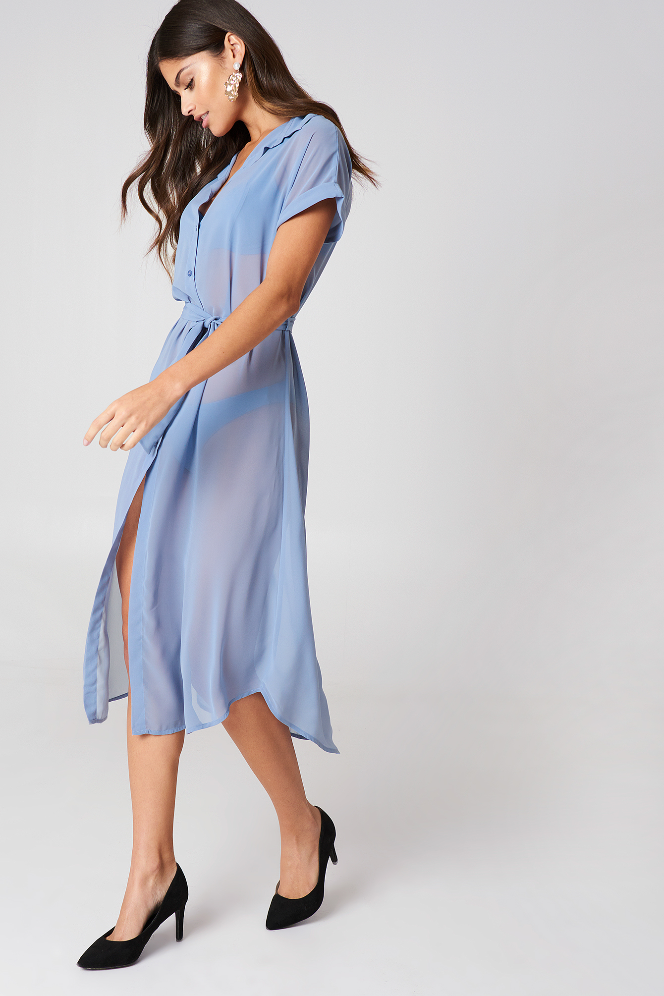 Tied Waist Shirt Dress
