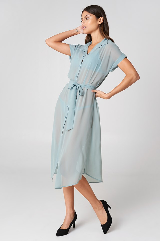 Tied Waist Shirt Dress NA-KD.COM
