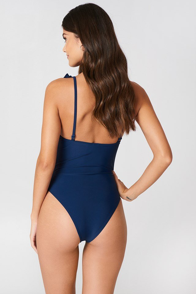 Tied Front Frill Swimsuit Dark Blue