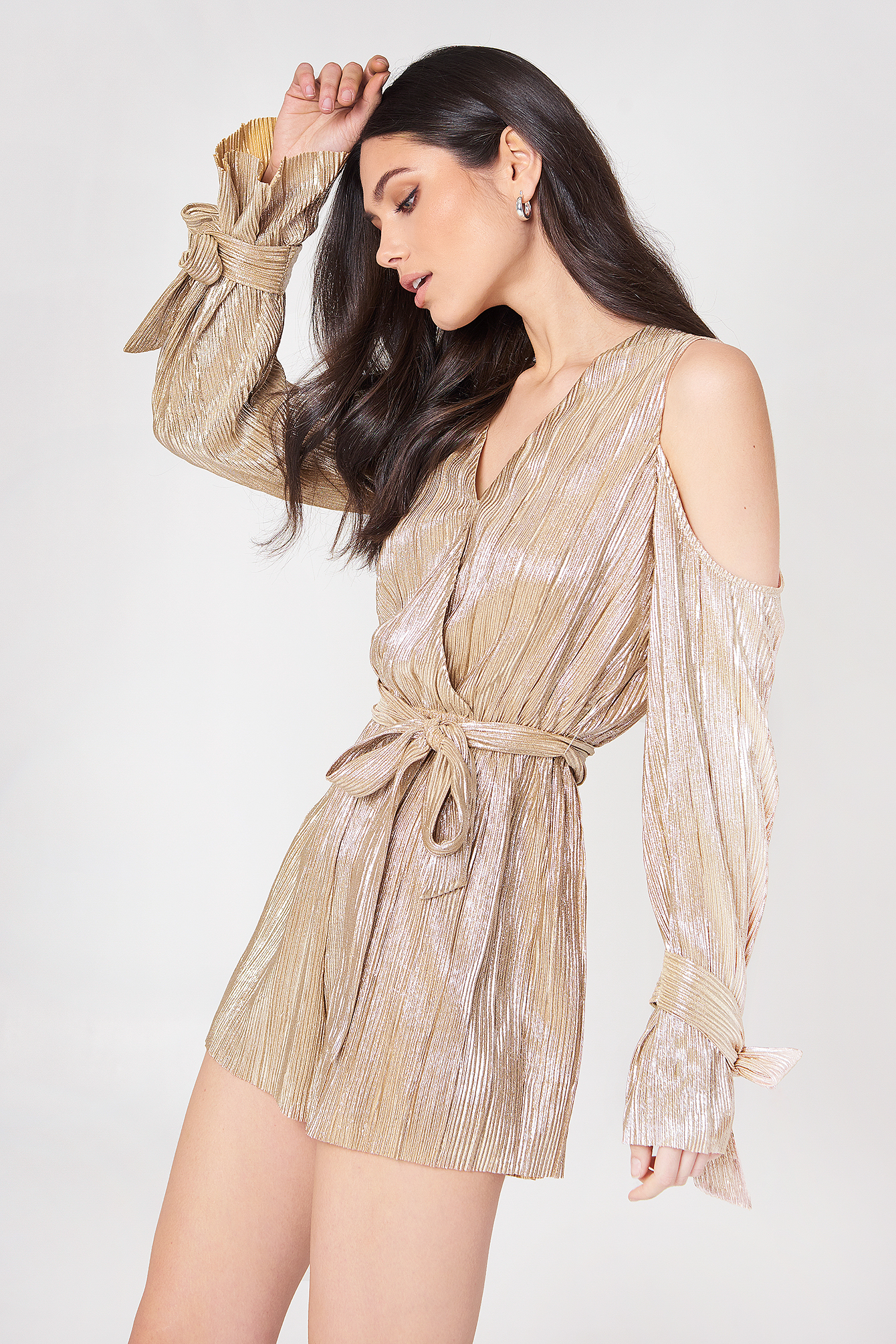 Pleated Cold Shoulder Romper NA-KD.COM