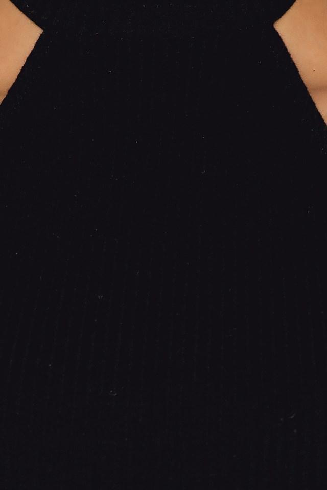 Tied Back Rib Jersey Top Black