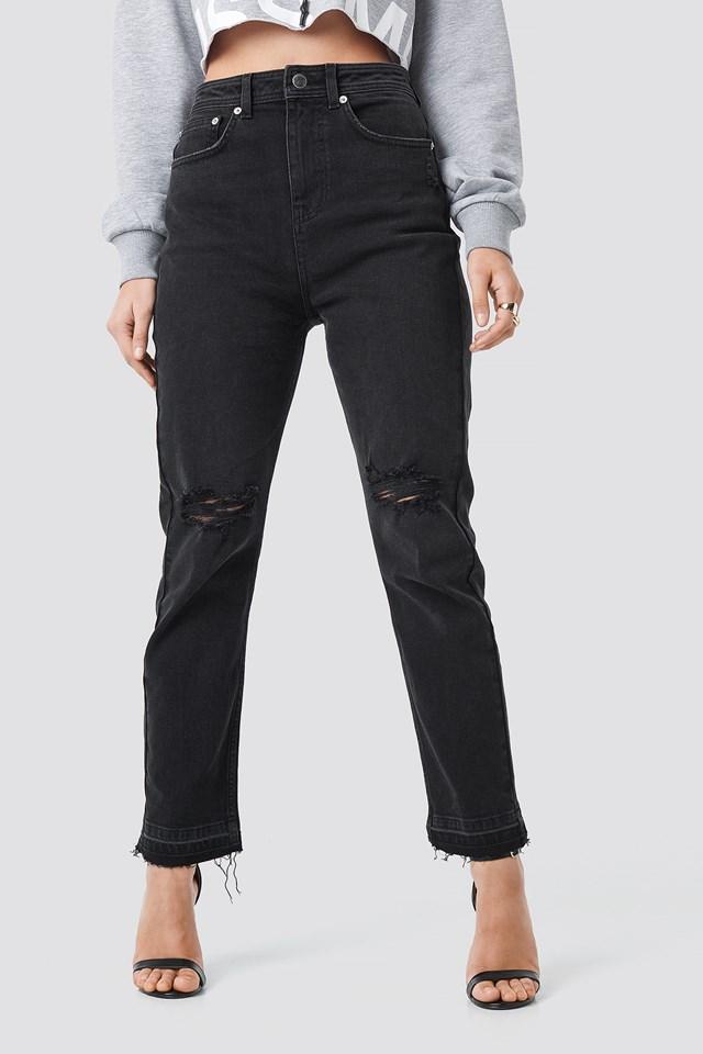 """Chance"" High Waist Straight Jeans Black/White"