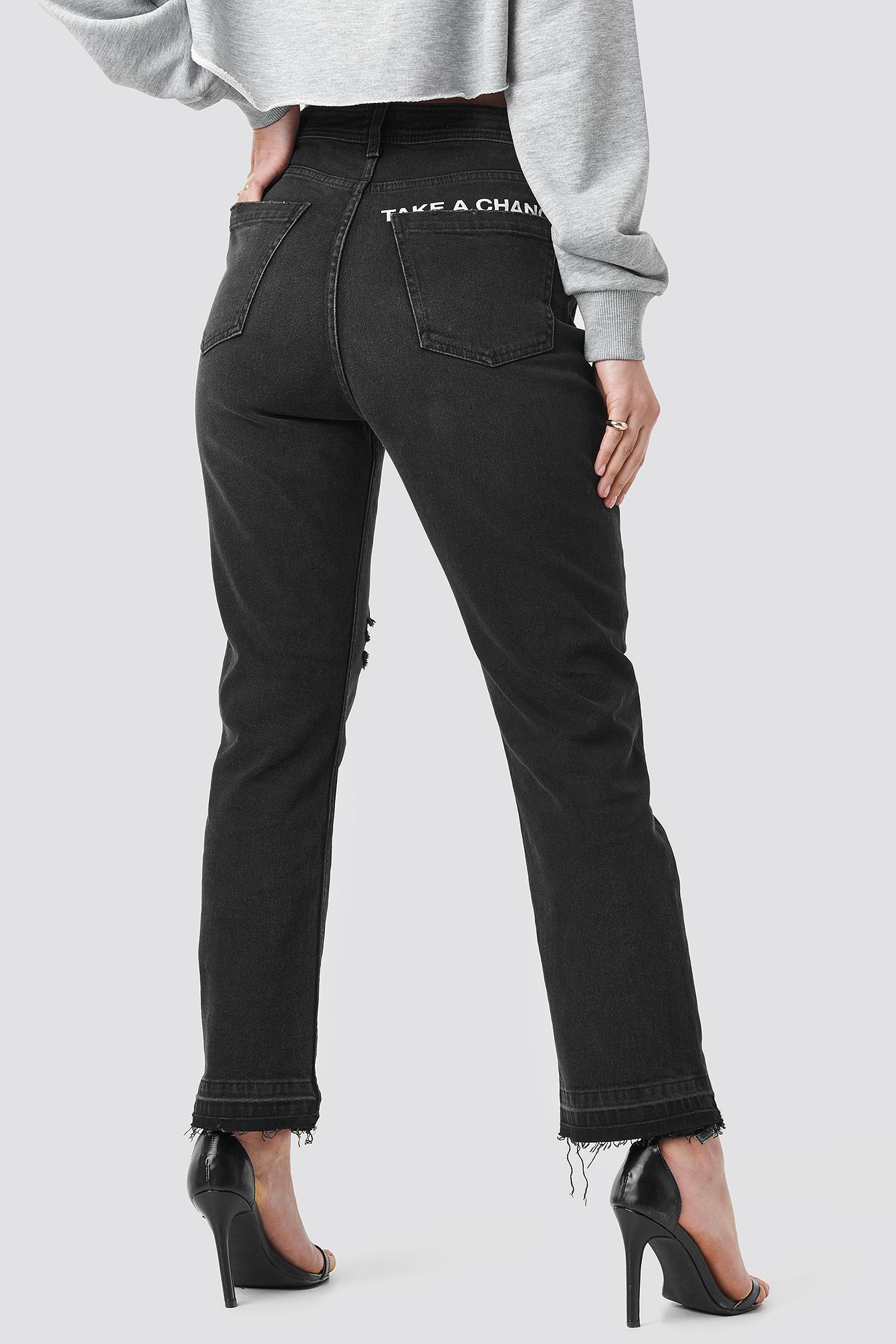 """""""Chance"""" High Waist Straight Jeans NA-KD.COM"""