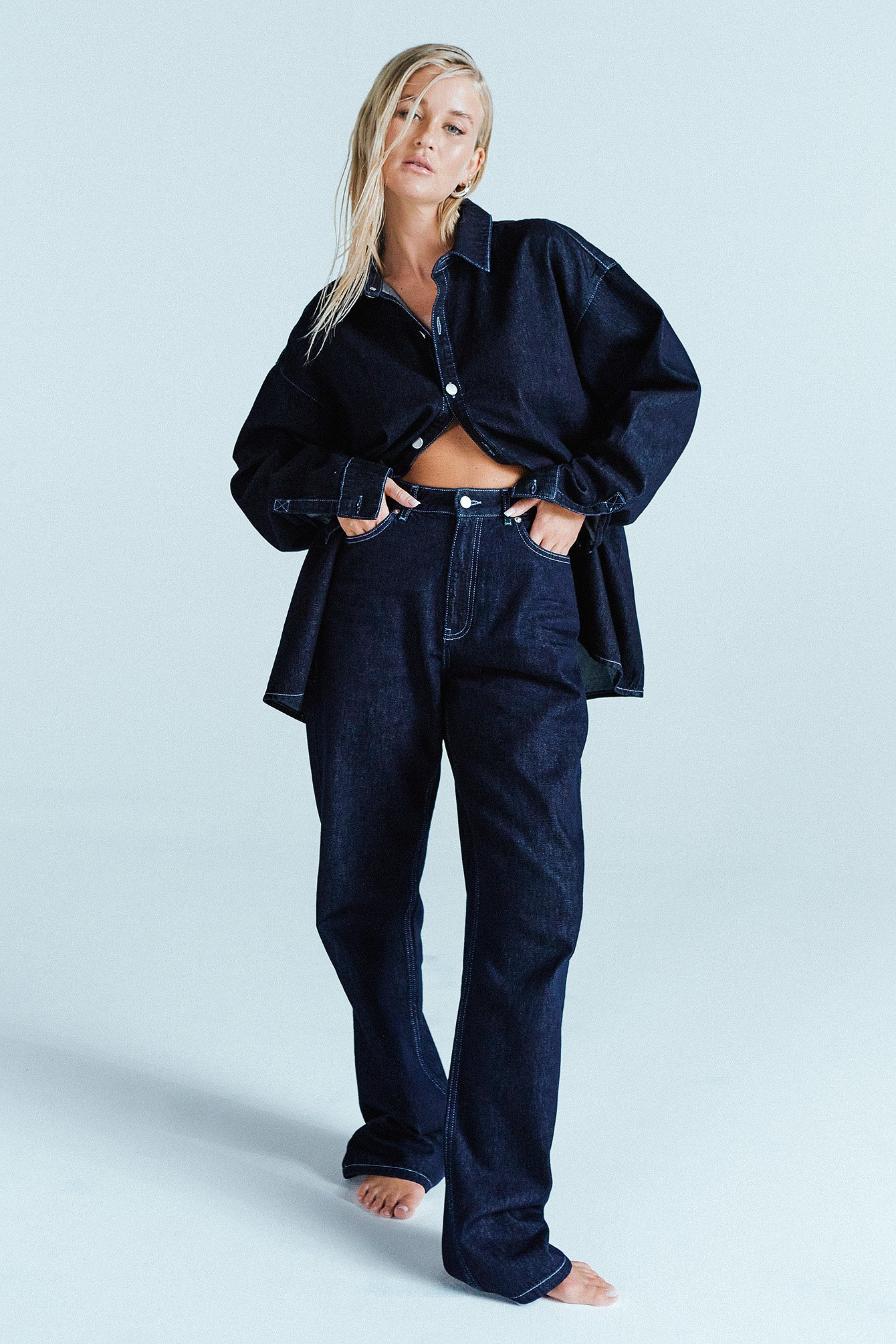 Josefine Hj X Na-kd Oversized Denim Shirt - Blue