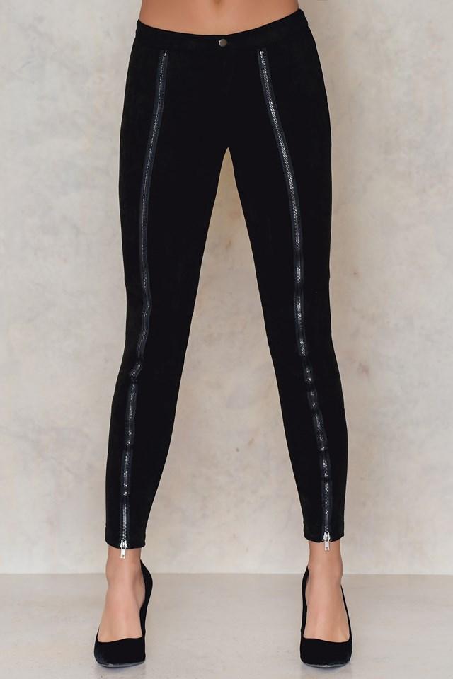 Zamszowe spodnie na suwak Black