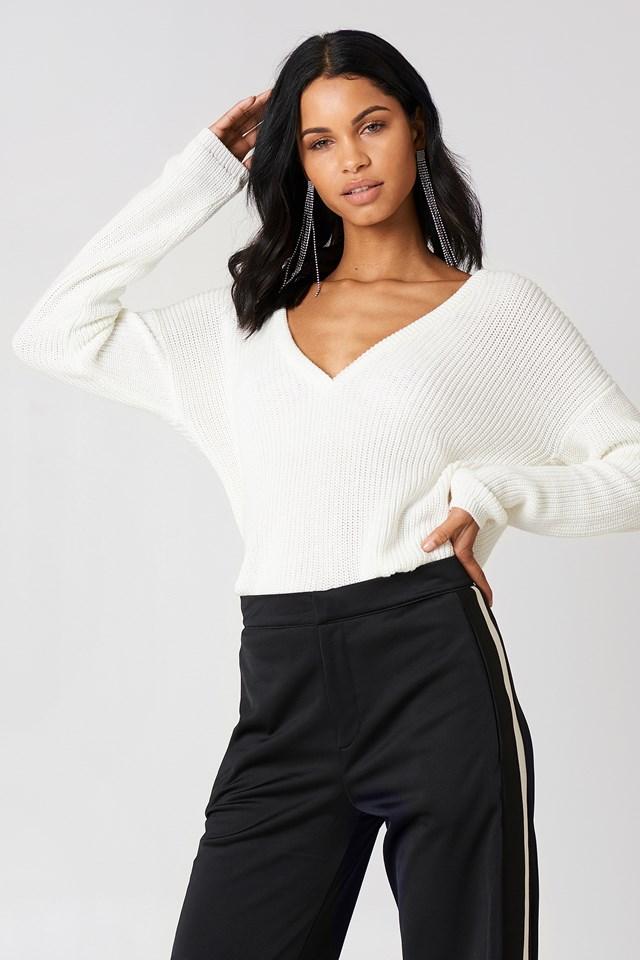 Deep V-neck Sweater White