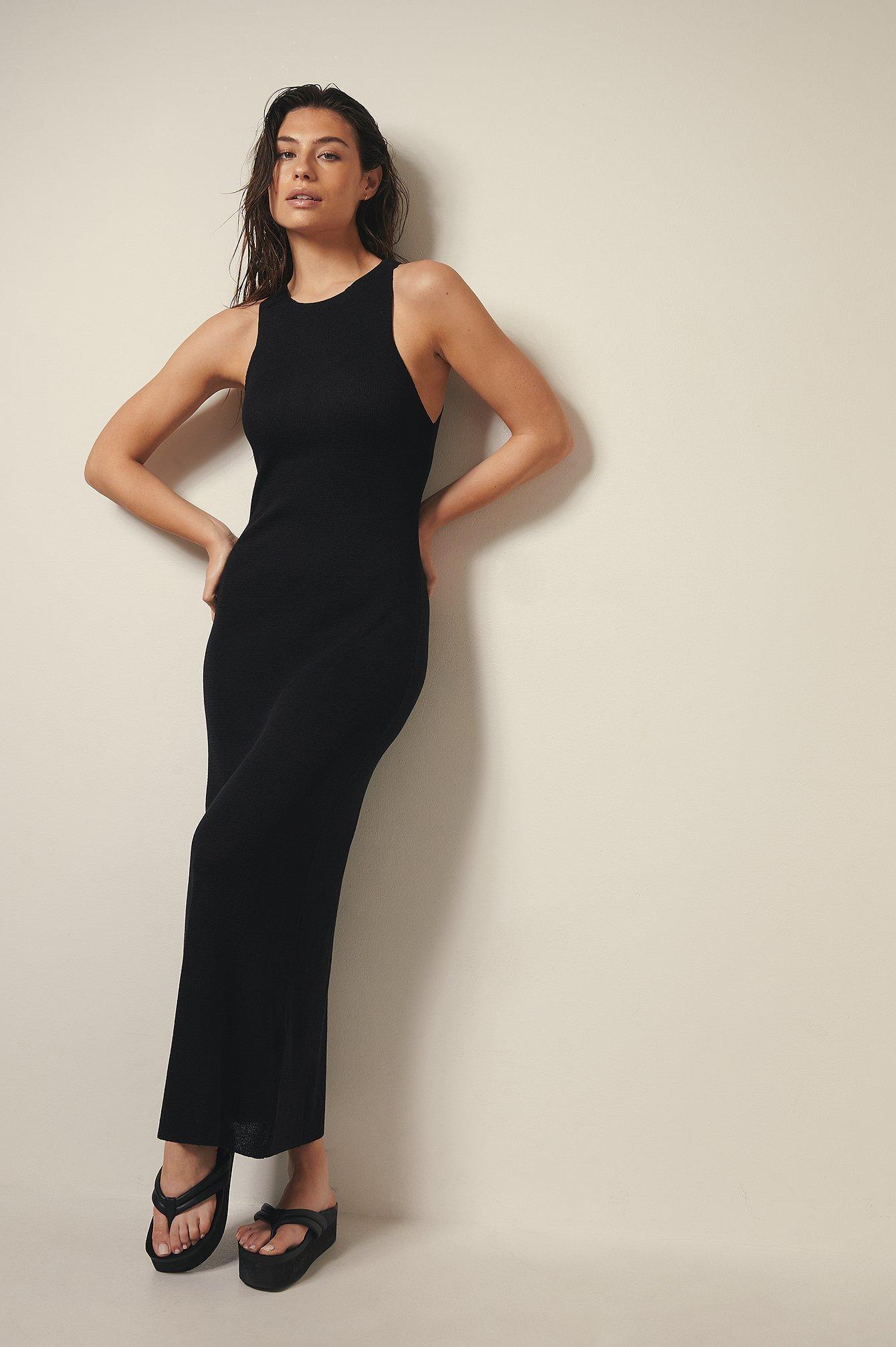 josefine hj x na-kd -  Langes Kleid Mit Neckholder-Ausschnitt - Black