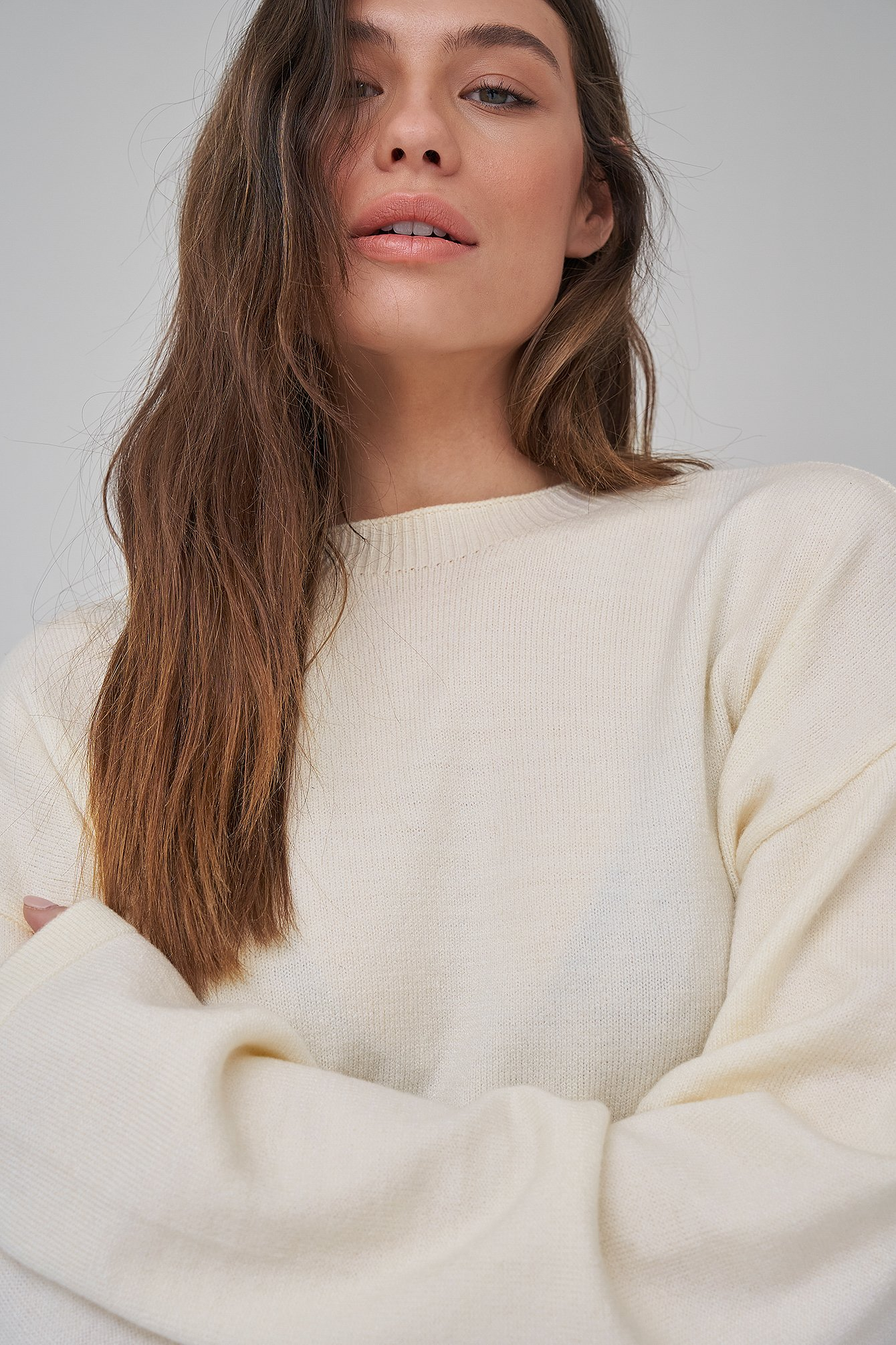 Antique White Light Knit Dropped Shoulder Sweater