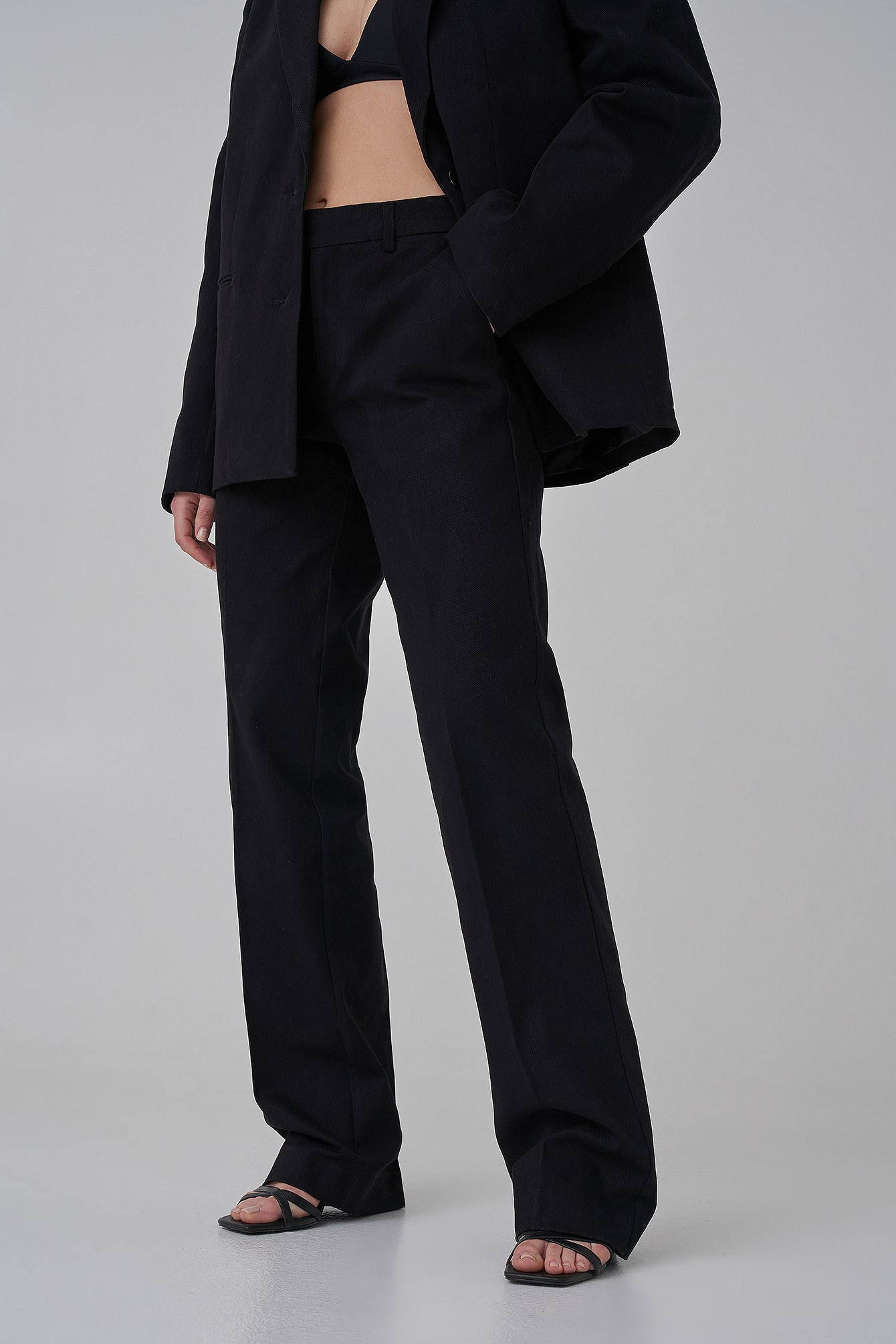 Black Long Leg Twill Suitpants