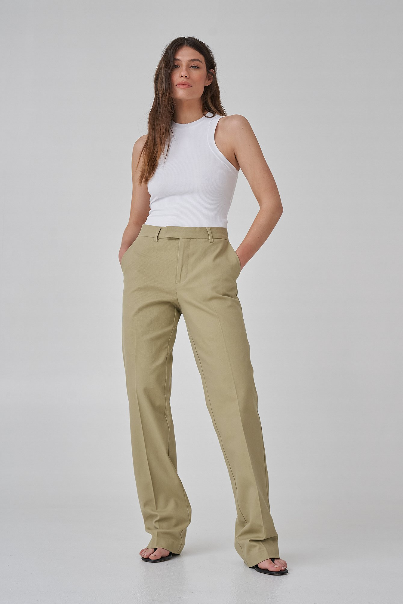 Slate Green Long Leg Twill Suitpants