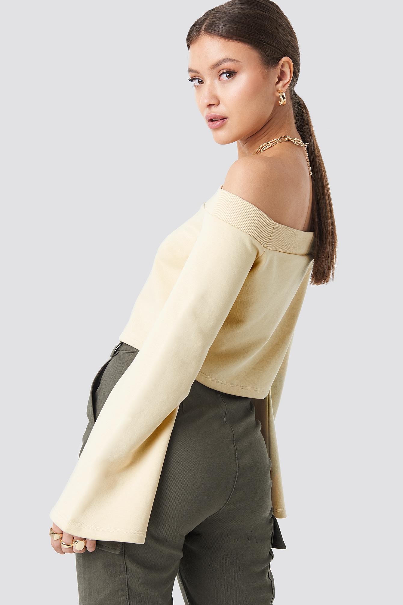 Off Shoulder Cropped Sweatshirt NA-KD.COM