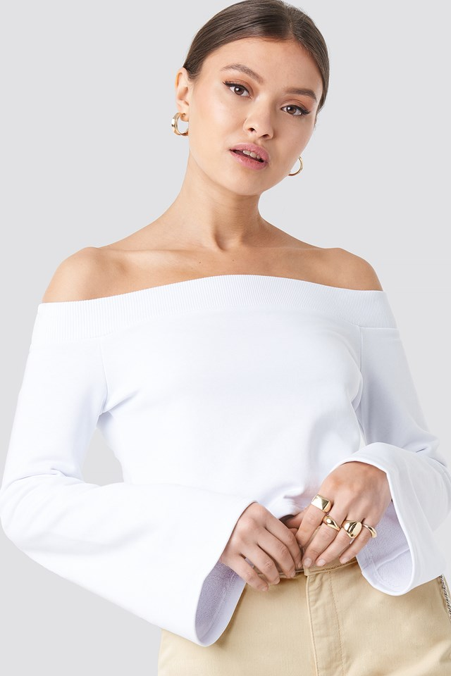 Off Shoulder Cropped Sweatshirt White