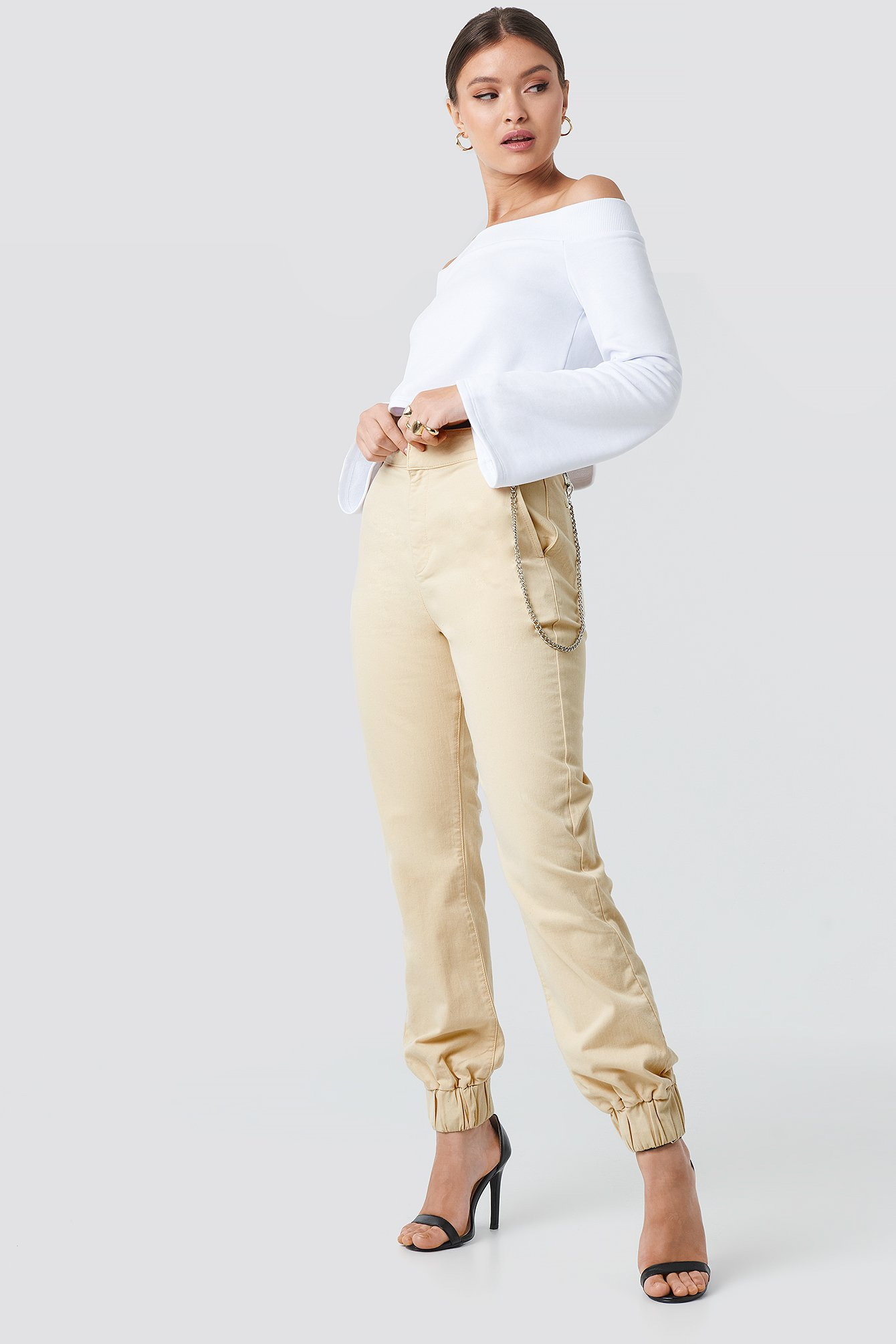 Side Chain High Waist Chino Joggers NA-KD.COM