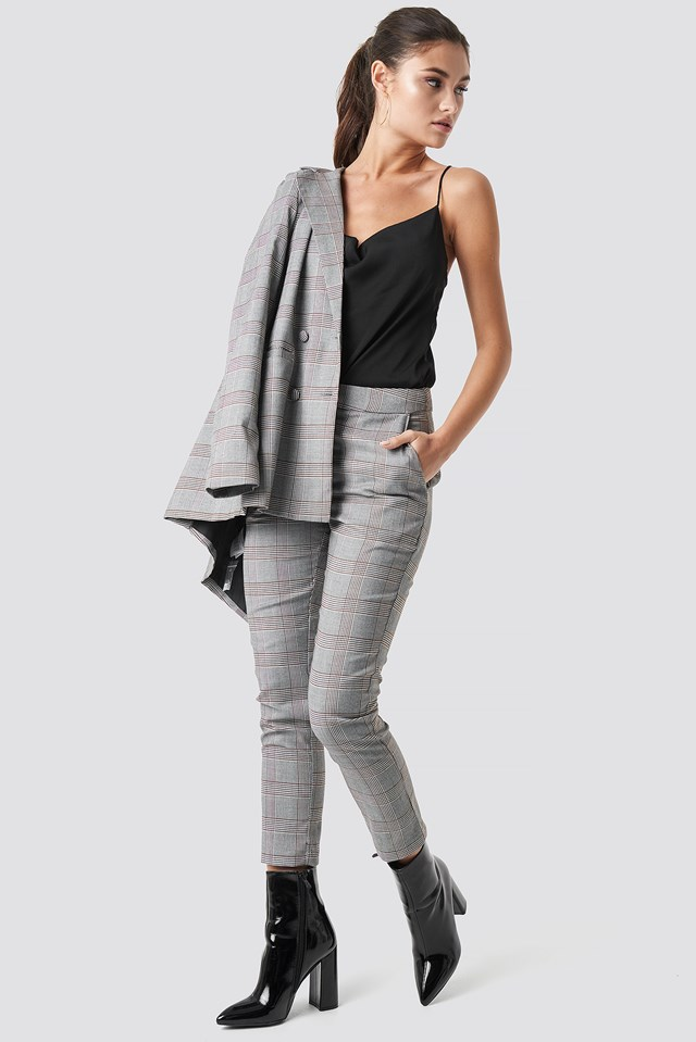 Ankle Suit Pants Grey Check