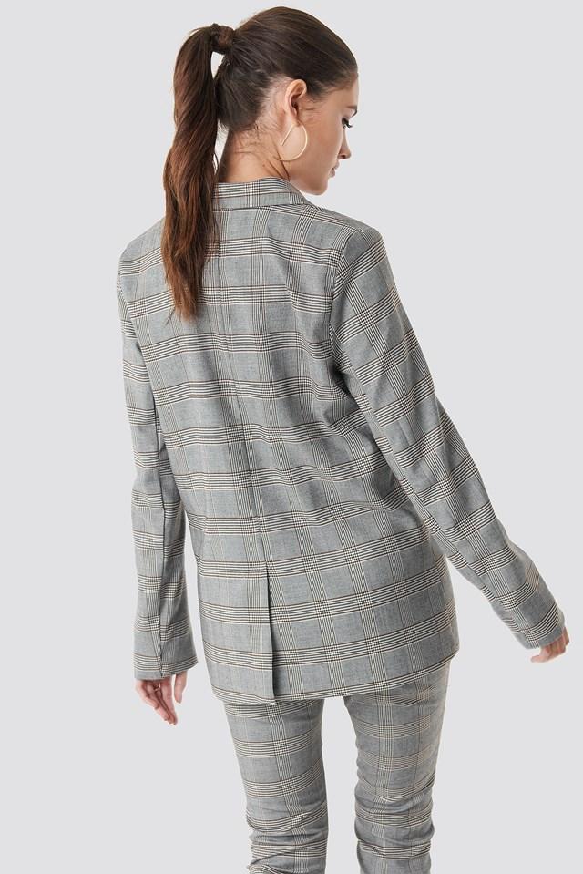 Checked Box Blazer Grey Check