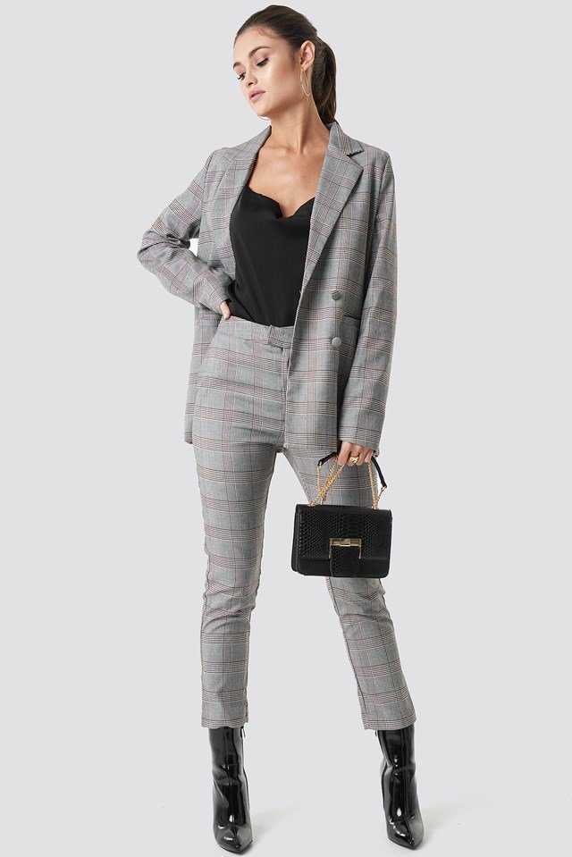 Checked Box Blazer Grey Check