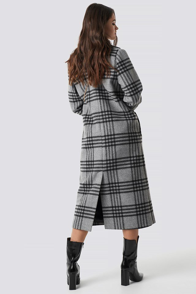 Front Button Checked Midi Coat Grey Check