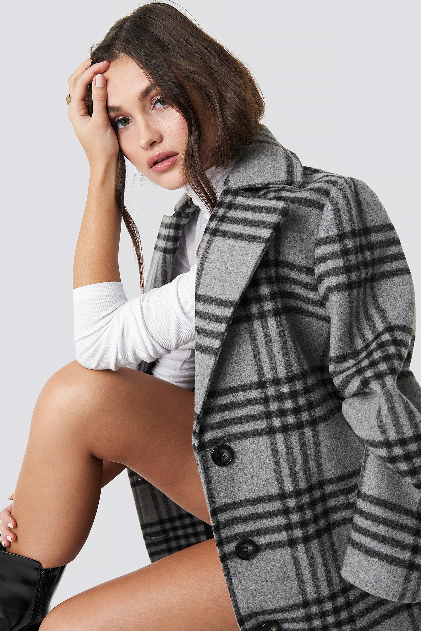 Front Button Checked Midi Coat NA-KD.COM