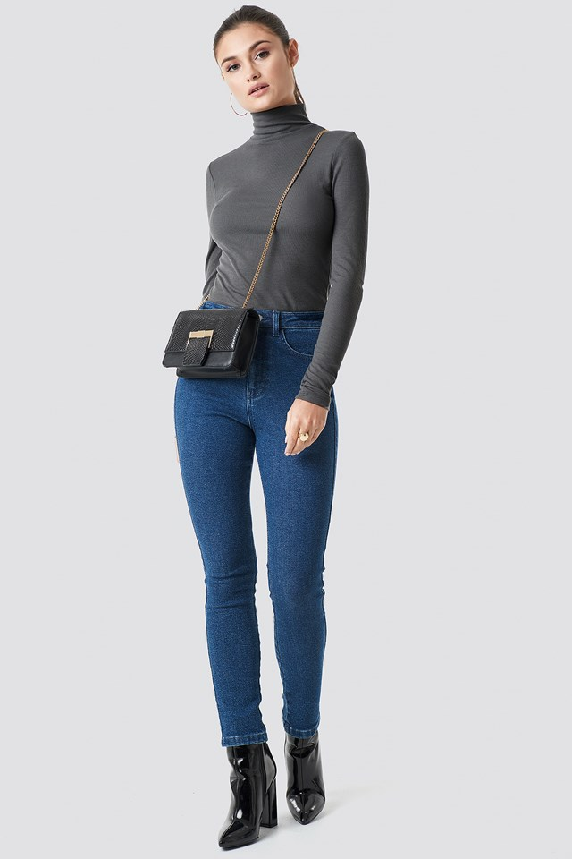 High Waist Slim Leg Denim Dark Blue