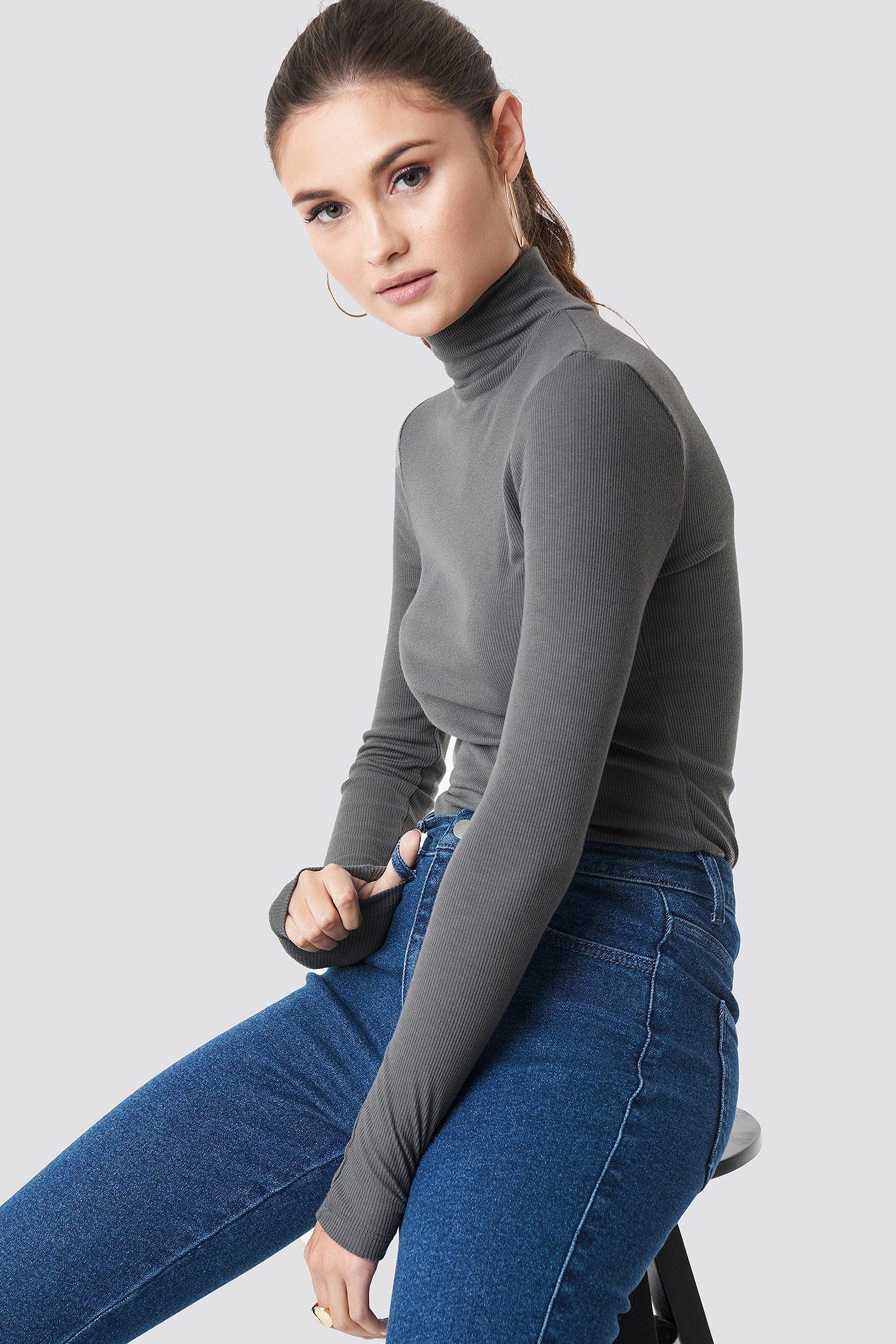 julia wieniawa x na-kd -  Long Sleeve Polo Top - Grey