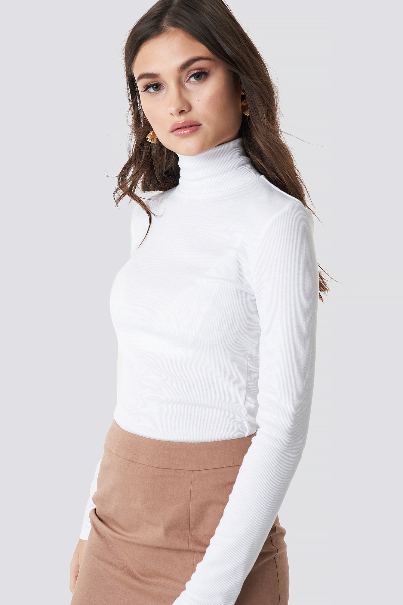 julia wieniawa x na-kd -  Long Sleeve Polo Top - White
