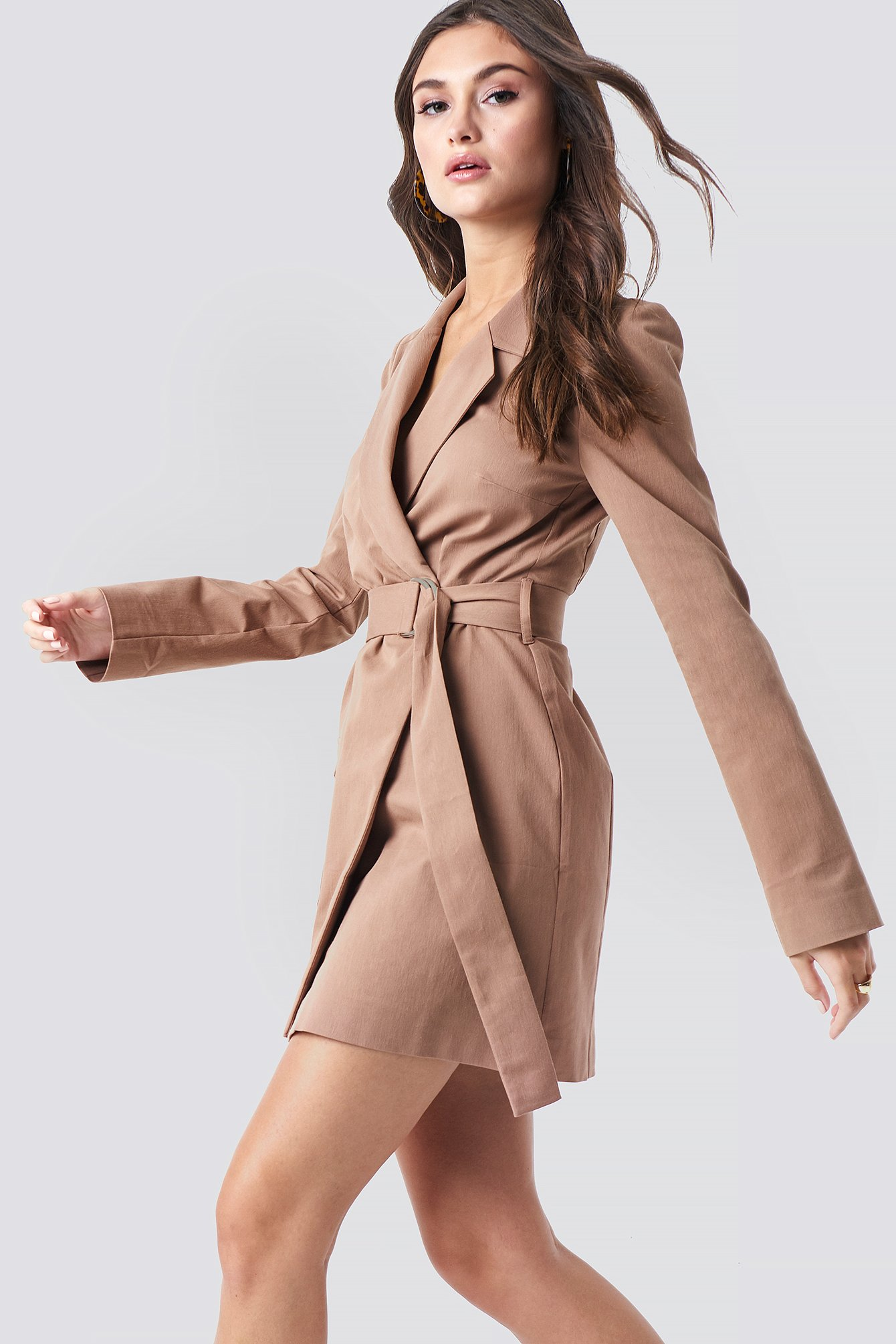 Overlapped Belted Blazer Dress NA-KD.COM