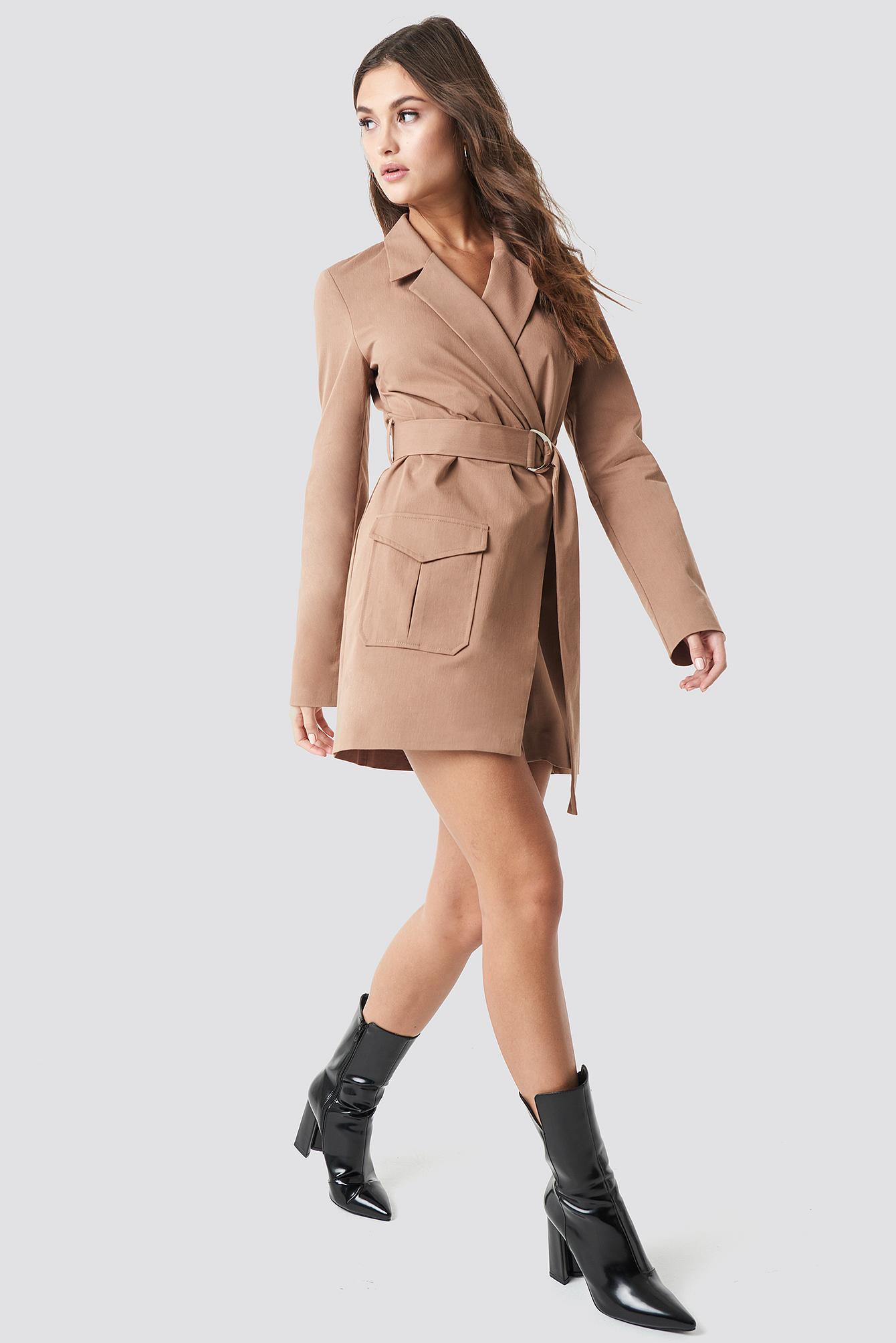 Overlapped Belted Blazer Dress NA-KD.COM
