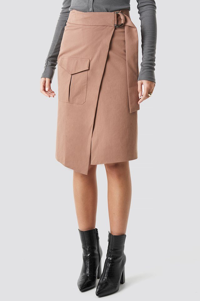 Overlapped Belted Midi Skirt Brown