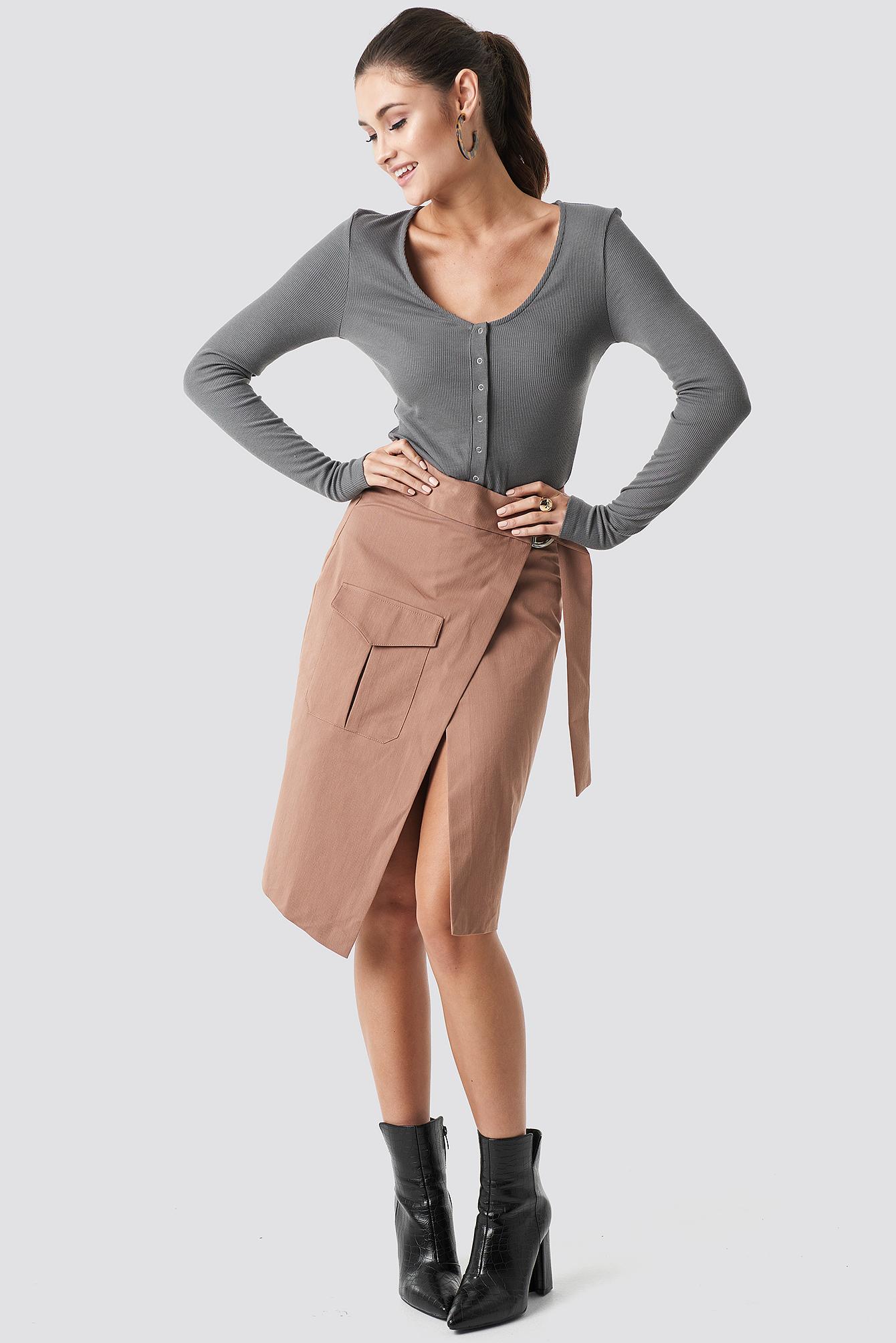 Overlapped Belted Midi Skirt NA-KD.COM
