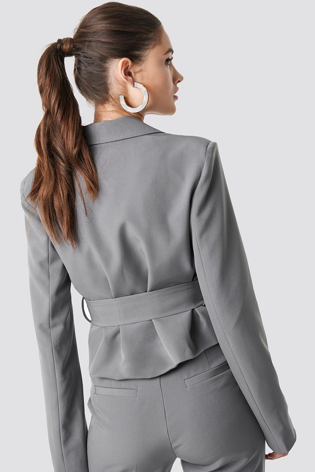 Shoulder Padded Short Blazer Grey