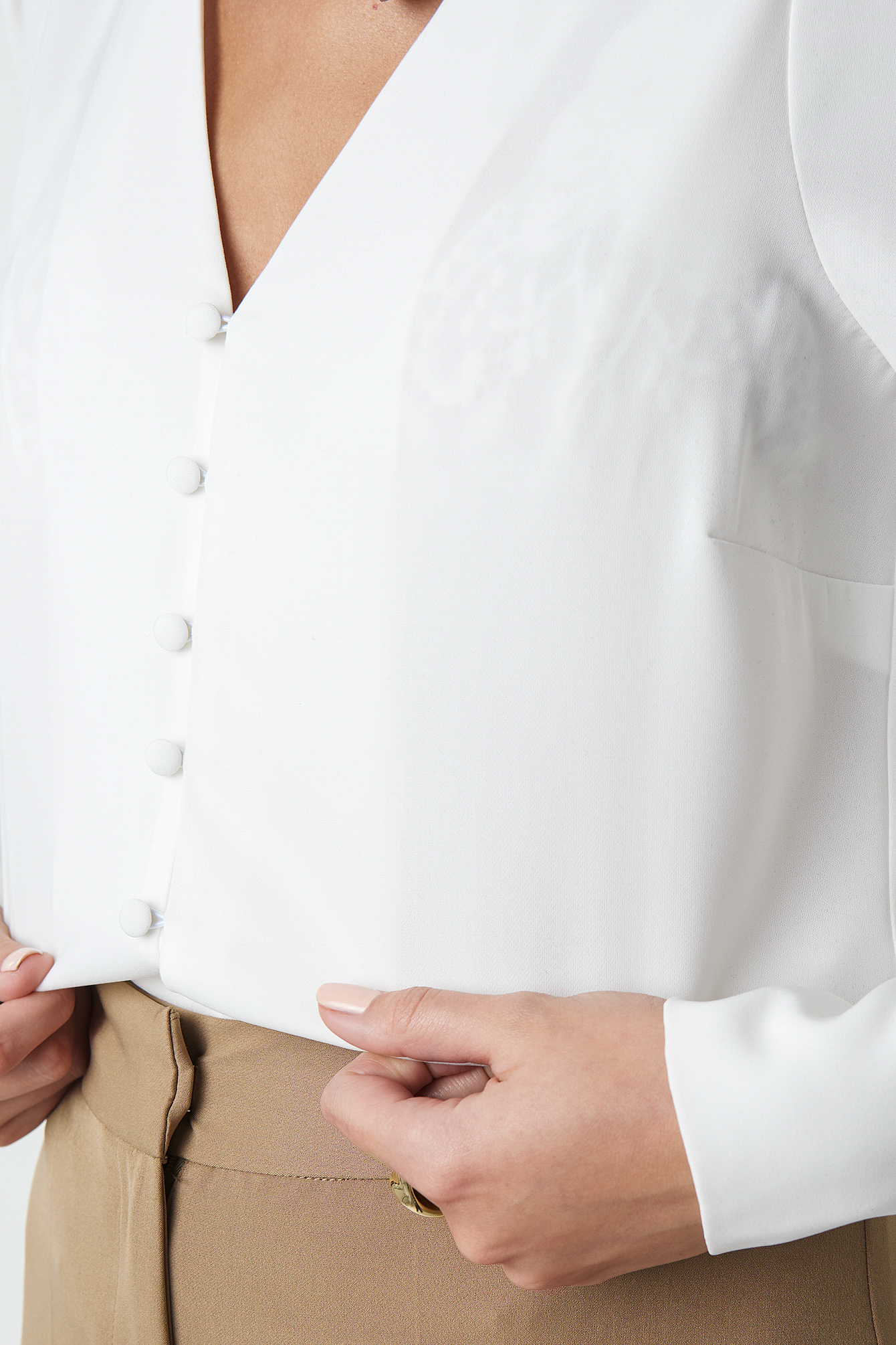 V-neck Button Up Blouse NA-KD.COM