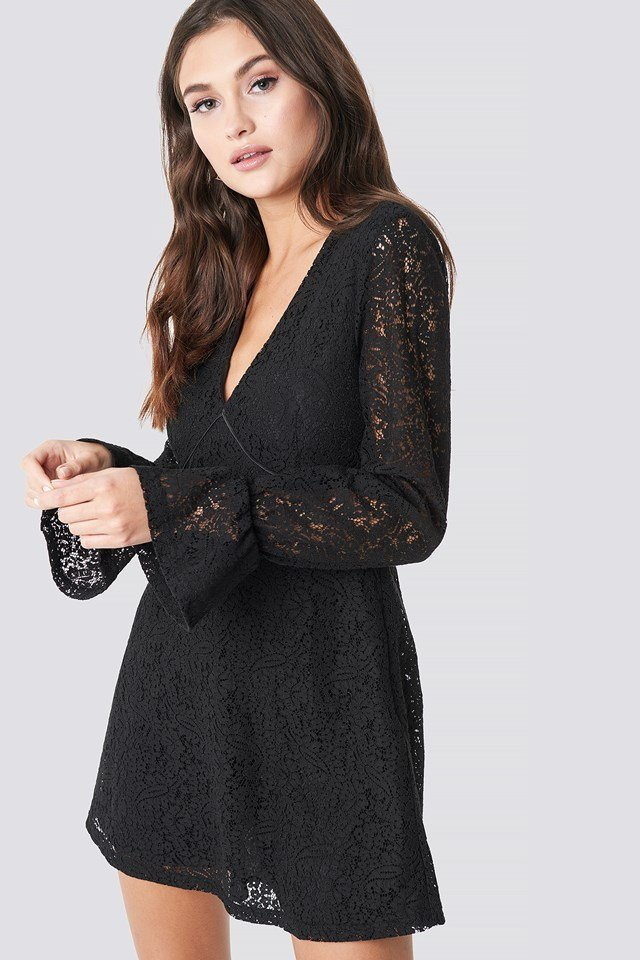 V-Neck Lace Dress Black
