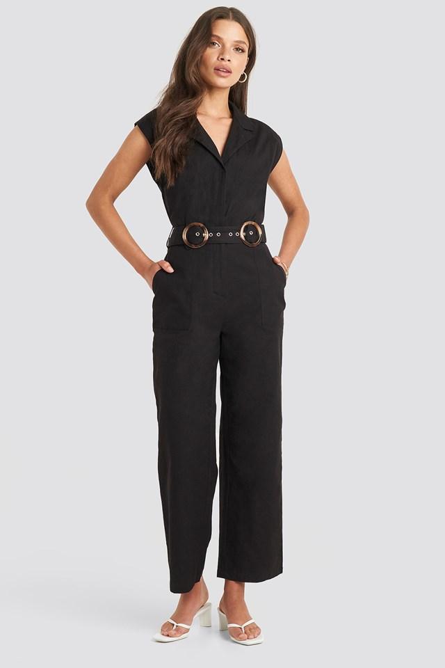 Belted Front Pocket Jumpsuit Black