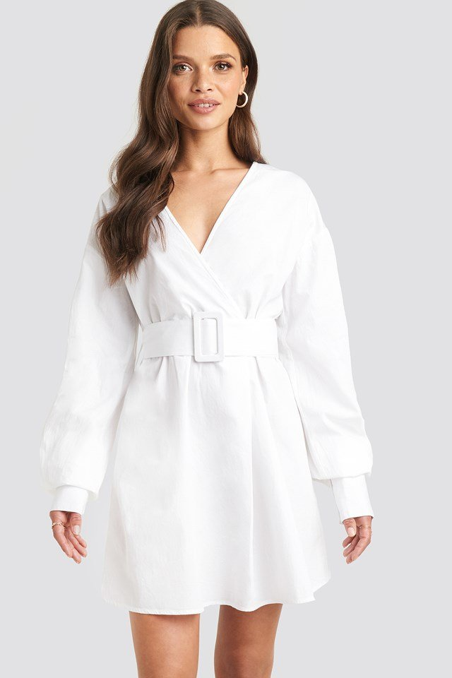 Belted Long Sleeve Shirt Dress Julia Wieniawa x NA-KD