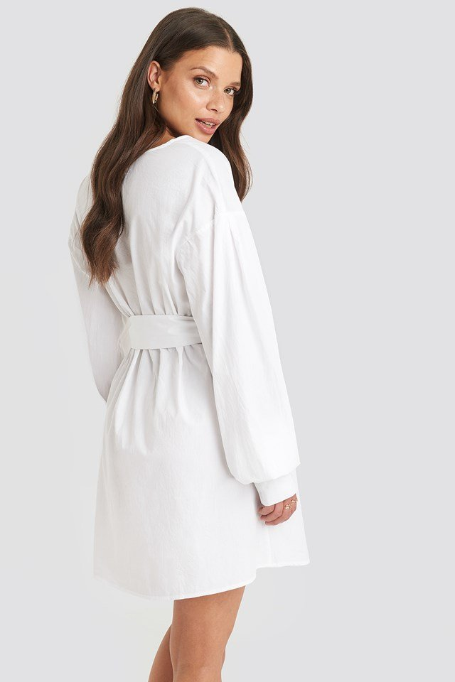 Belted Long Sleeve Shirt Dress White