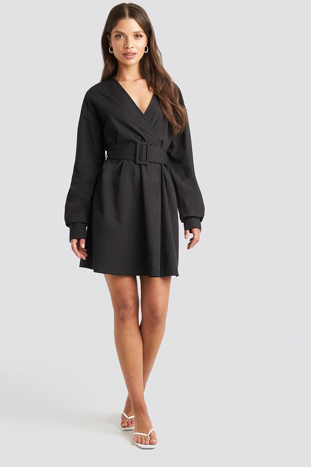 Belted Long Sleeve Shirt Dress Black
