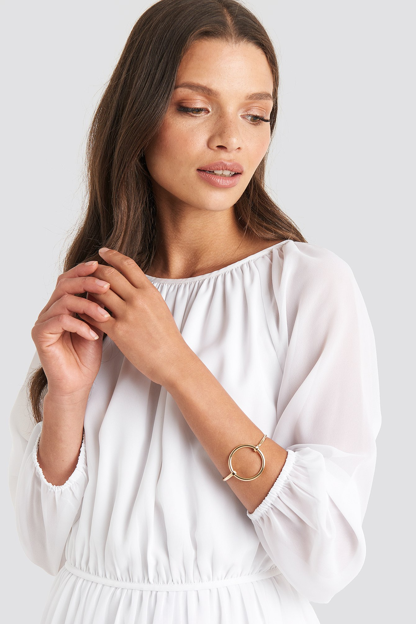 Julia Wieniawa X Na-Kd Circle Detailed Bracelet - Gold