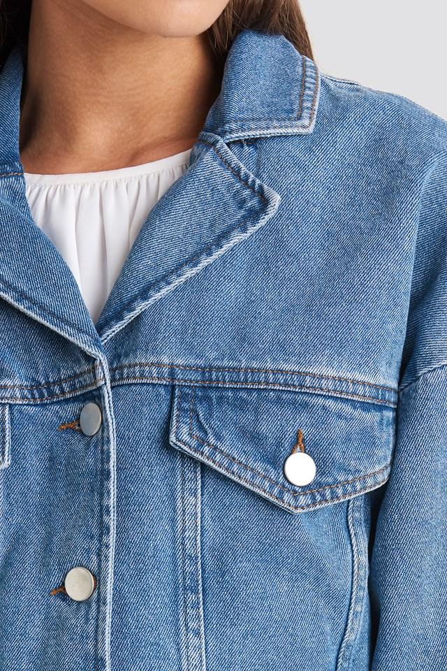 Cropped Raw Edge Denim Jacket Light Blue