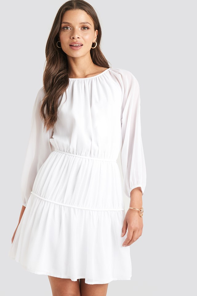 Draped A-lined Chiffon Dress White
