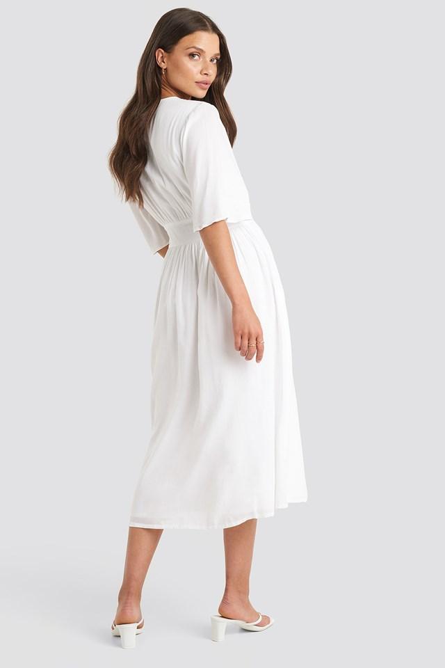 Marked Waist Wide Sleeve Midi Dress White