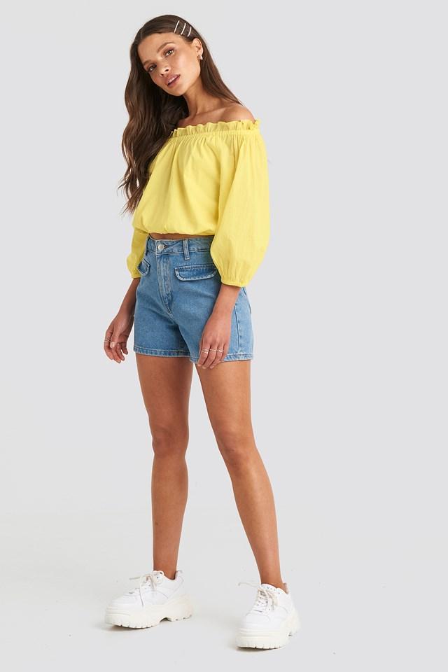 Mid Waist Denim Shorts Light Blue