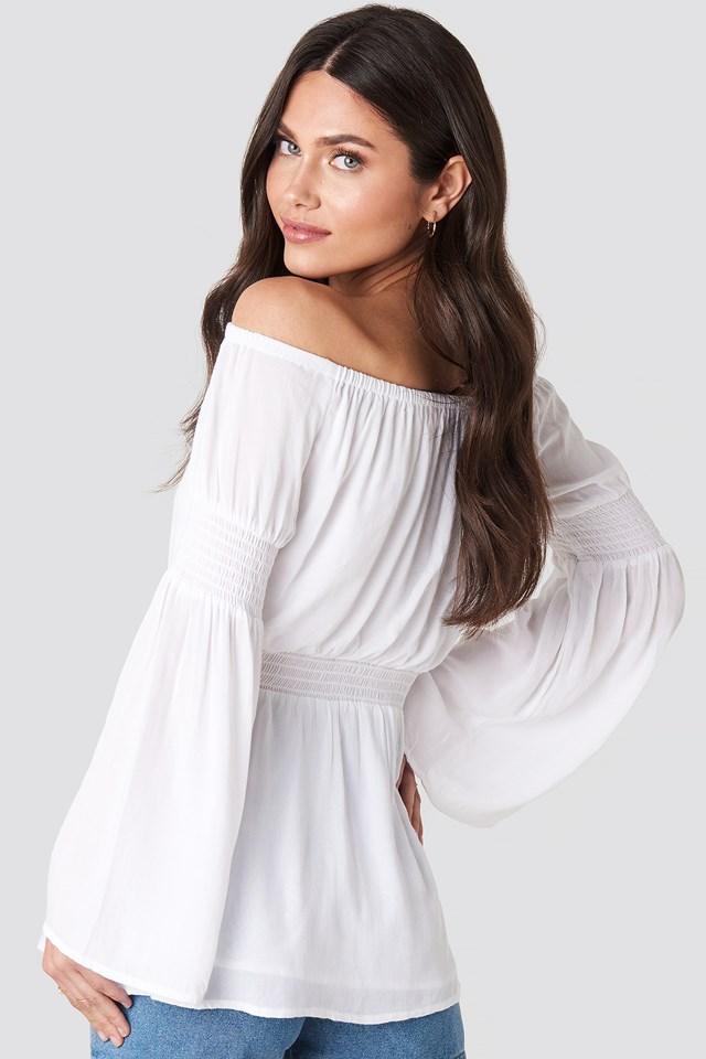 Off Shoulder Smocked Blouse White