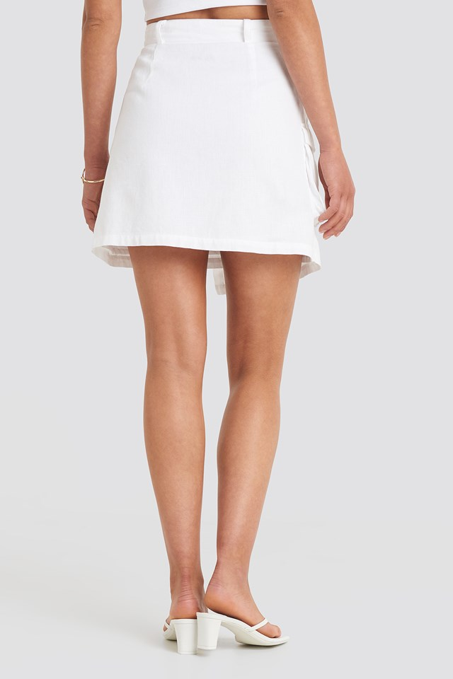 Overlapped Asymmetric Skirt White