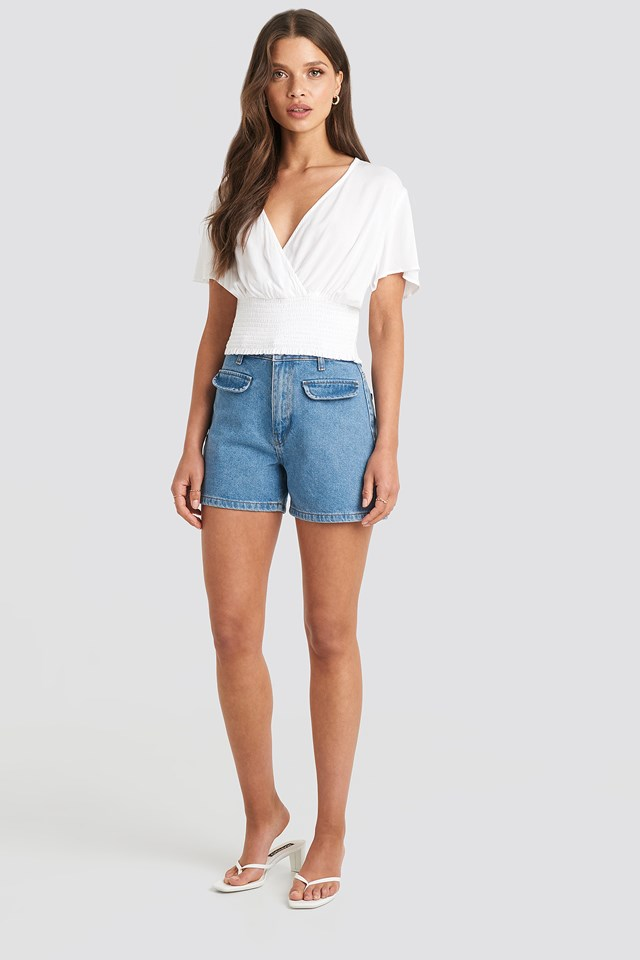 Overlapped Smocked Top White